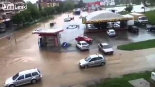 Bałkańskie miasto zalane przez powódź w 5 minut