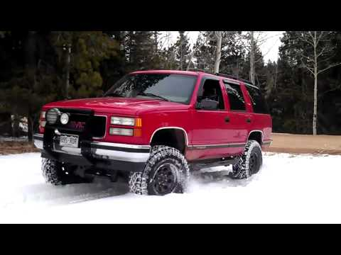 Lifted Chevy Colorado >> 1996 GMC Yukon in snow - YouTube