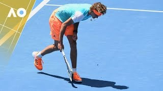 Zverev smashes his racquet and receives a warning | Australian Open 2017