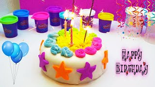 Preparing birthday cake with play dough. kids video with Play doh
