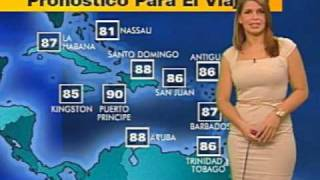 Spanish Weather Girl Irene Sans Farts on TV (NY1 Noticias)