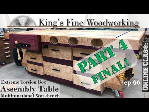 66 - Extreme Torsion Box Assembly Table Part 4 Final Outfeed & Multifunction Workbench w Storage