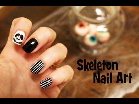 Skeleton Nail Art Halloween - YouTube