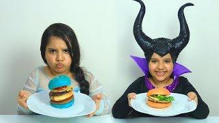 السا ضد ماليفسنت ! تحدي البرغر ! elsa vs maleficent ! burger battle