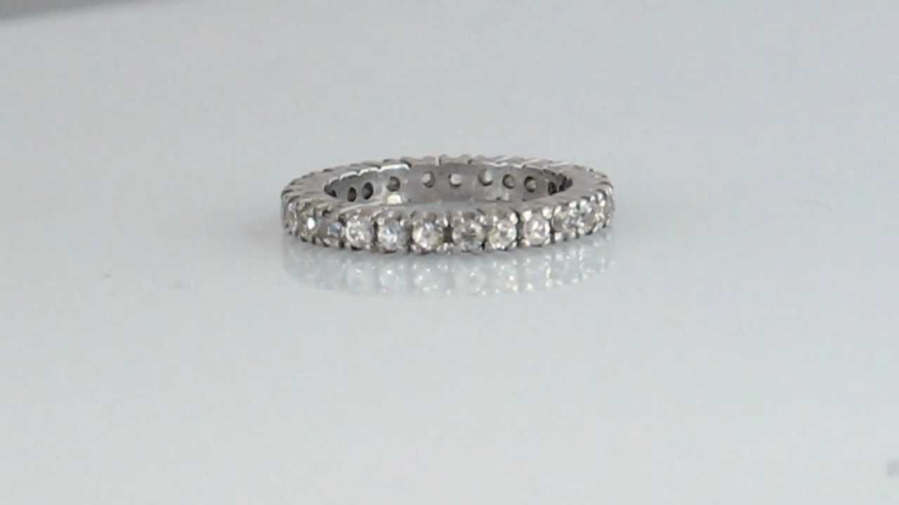 Natural White Sapphire Full Eternity White And Blue Sapphire Sterling  Silver Ring
