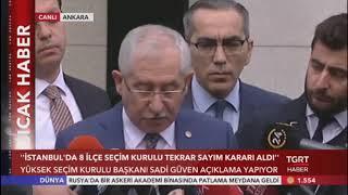 YSK Başkanı Güven, Sayım Durdurma Kararını Kaldırdığını Açıkladı