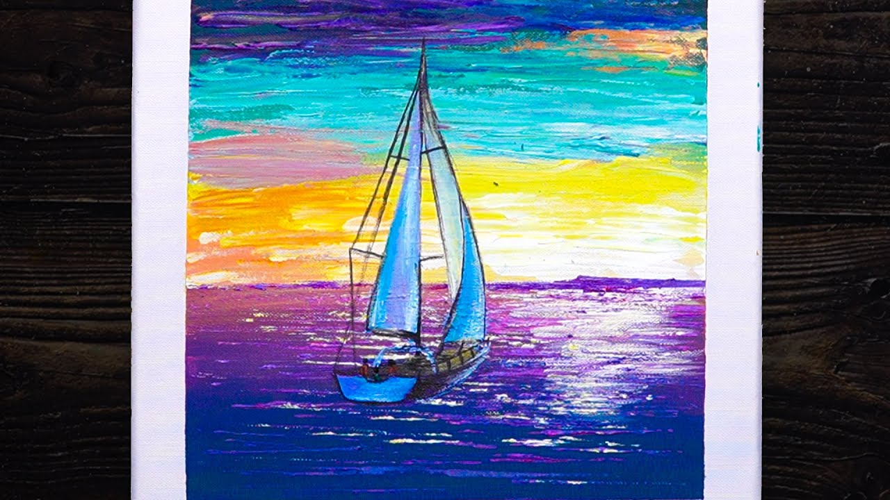 The boat set sail | Acrylic Painting On Canvas Step By Step | Easy Art #15