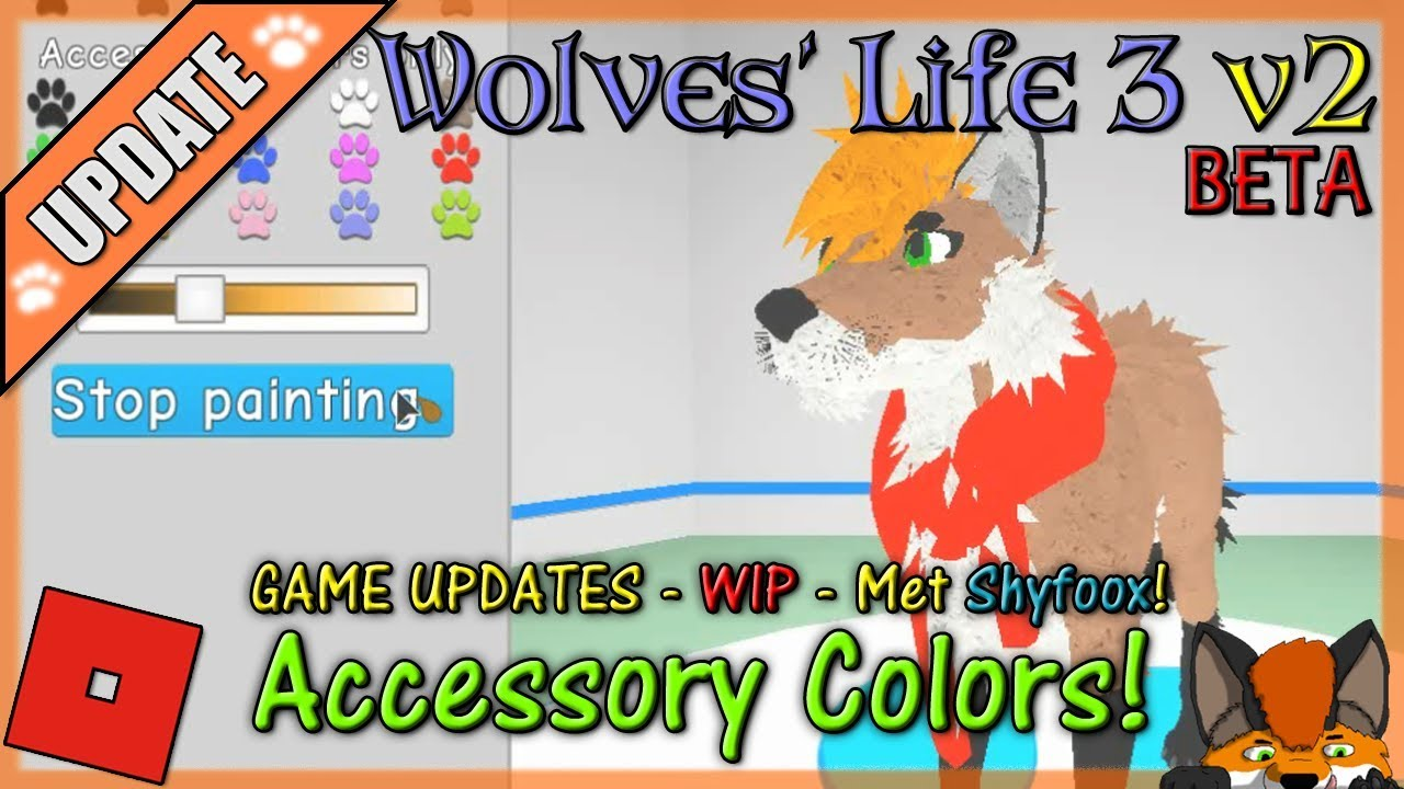 Roblox Wolves Life 3 How To Join Shyfoox Studios Group Hd - Roblox Wolves Life 3 V2 Beta Accessory Colors Met Shyfoox