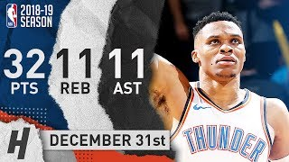 Russell Westbrook EPIC Triple-Double Highlights vs Mavericks 2018.12.31 - 32 Pts, 11 Ast, 11 Reb!