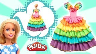 Play Doh Making Sparkle Rainbow Dress For Disney Princess Barbie. Video for Kids. Crafts for Girls