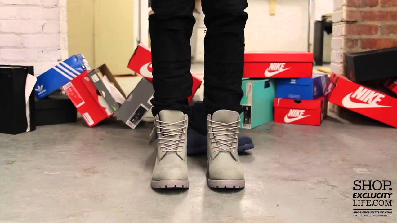 5671c211db88 Timberland 6 inch Mono Grey On feet Video at Exclucity - YouTube