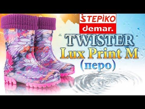 DEMAR Twister Lux Print M Перо. Видео обзор на резиновые сапоги Демар 0038M от Stepiko.com