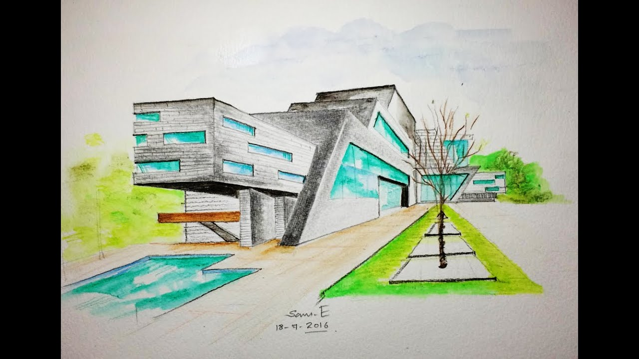 Watercolor pencil art one point perspective drawing for Architecture modern house design 2 point perspective view