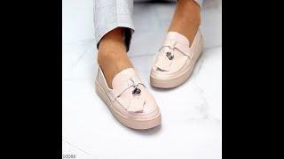 Модные повседневные светлые нюдовые женские туфли криперы натуральная кожа Код 10086
