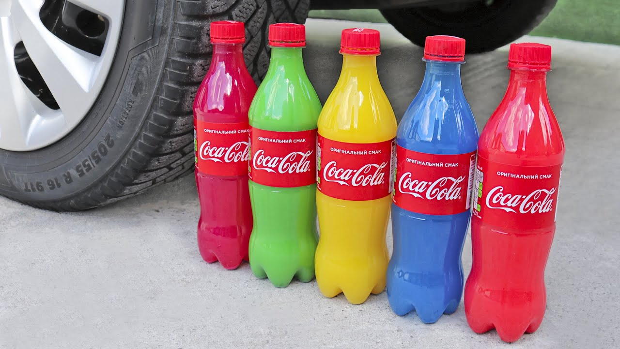 Experiment Car vs Rainbow Coca Cola, Slime, Piping Bags   Crushing Crunchy & Soft Things by Car!
