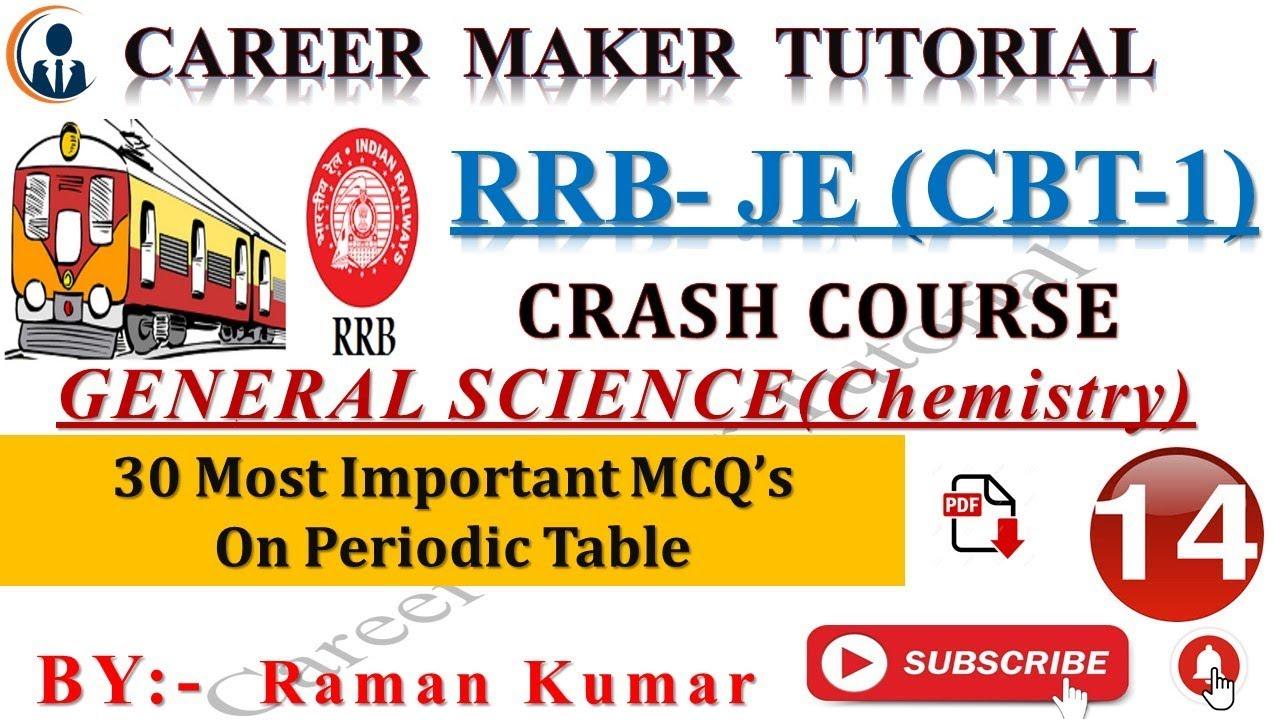 RRB JE ( CBT-1)||CRASH COURSE #14|| -GENRAL SCIENCE(CHEMISTRY-2) ||