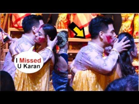Kajol Shows Her LOVE For Karan Johar HUGS & K!SSES Him In Front Of Media At Durga Pandal