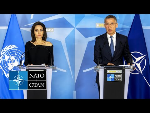 NATO Secretary General with UNHCR Special Envoy Angelina Jol