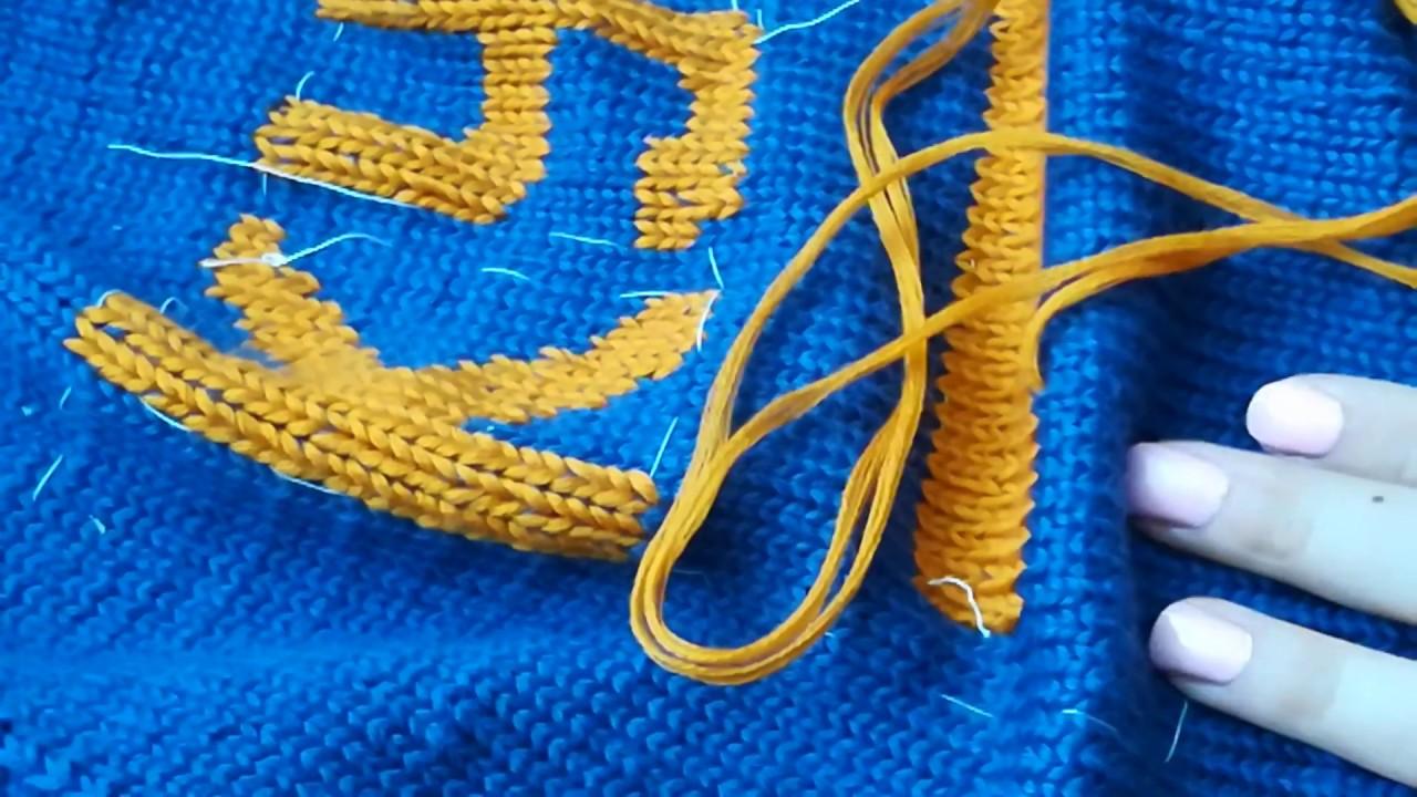 вышивка по вязаному полотну вышивка по петлям Marina Rukodelie