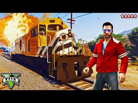 GTA 5 Online | The Great TRAIN ESCAPE!! Epic INTENSE Five Star Getaway (GTA 5 Funny Moments)