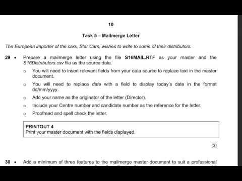specimen mail merge Task 5