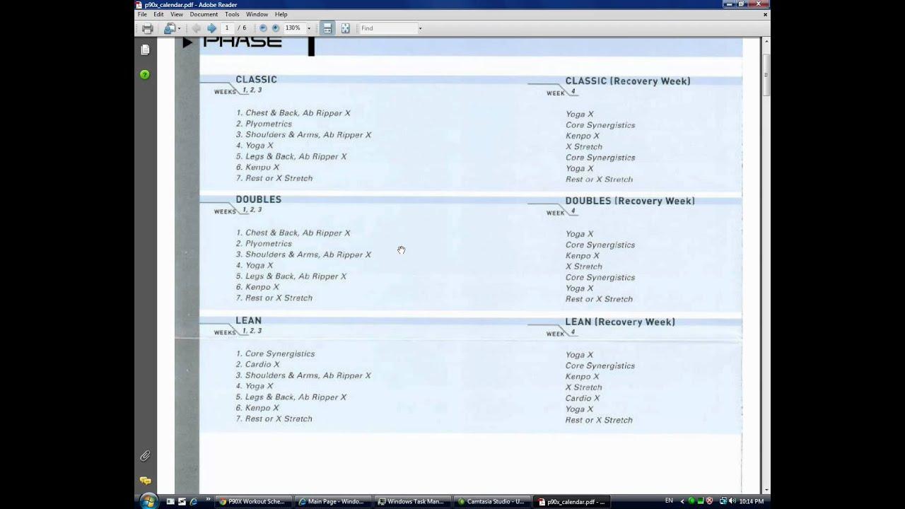 Calendar Schedule For P90x | Academic Calendar Xavier