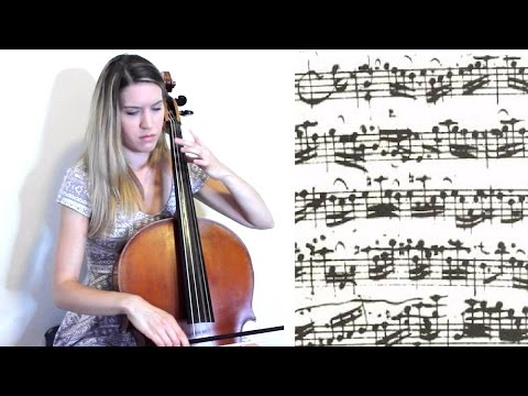 J.S. Bach - Cello Suite no. 1 in G major: II. Allemande, with sheet music on baroque cello