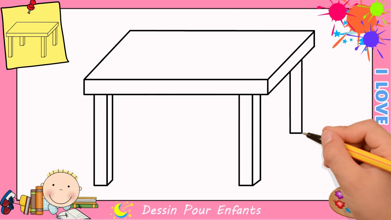 Dessin table FACILE etape par etape  Comment dessiner une table FACILEMENT  YouTube
