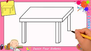 Dessin table FACILE etape par etape - Comment dessiner une table FACILEMENT