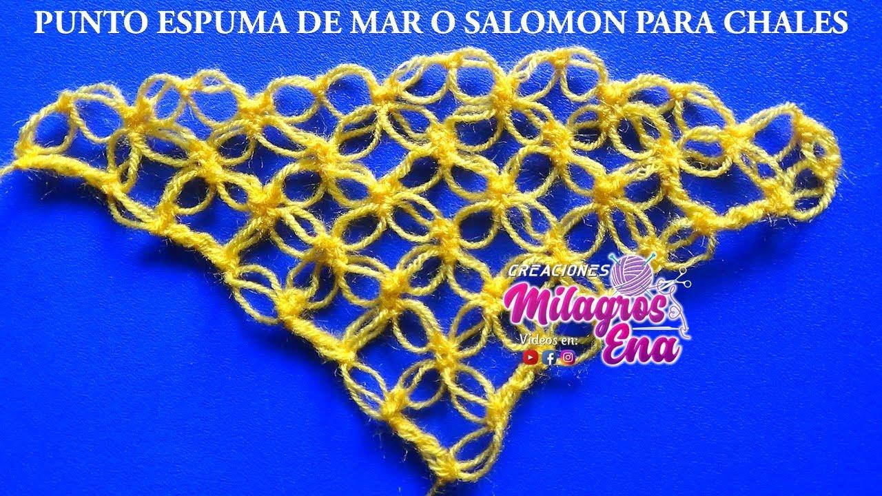 Punto a crochet ESPUMA DE MAR O NUDO DE SALOMÓN para Chales ...