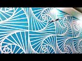 Wall putty texture painting 3D design idea white & blue.. intzar Malik