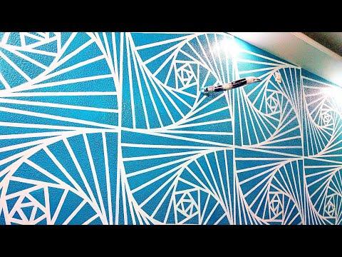 Wall putty texture painting 3D design idea white & blue.. intzar Malik