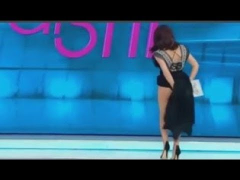 TV presenter lifts up her dress and flashes audience because she thought a spider was in her pants