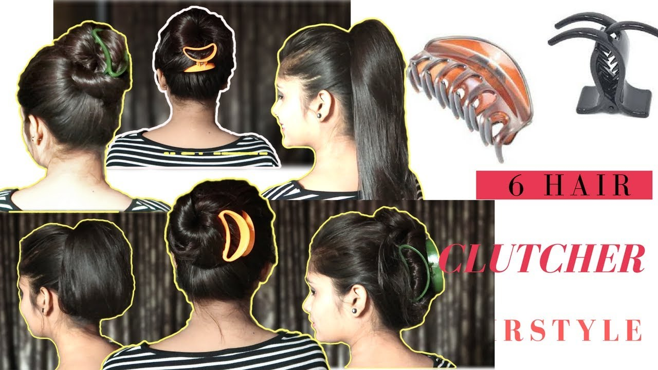 6 Hairstyle With Clutcher Ponytail Amp Bun With Clutcher