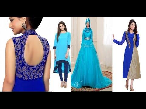 unique light blue colour kurti kamiz gown dresses 2018 new design