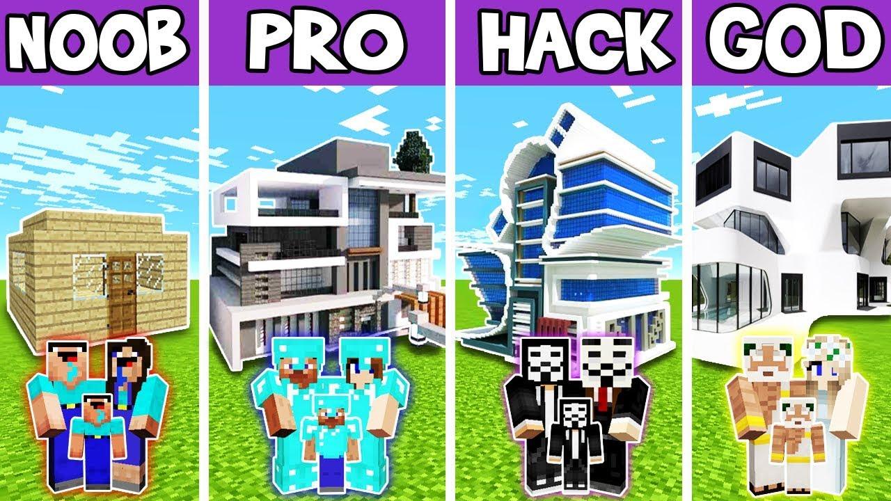 Minecraft: FAMILY BIG FUTURE HOUSE BUILD CHALLENGE - NOOB vs PRO vs HACKER vs GOD in Minecraft