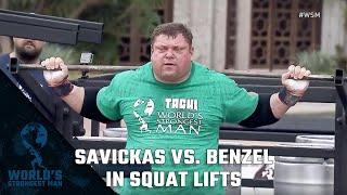 2018 World's Strongest Man | Savickas vs. Benzel in Squat Lifts