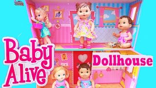 Baby Alive DOLLHOUSE TOUR Lalaloopsy Frozen Elsa Toddler Dolls Babies HUGE WOODEN Baby Alive Toy