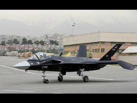 Iran made F-313 Fighter Trainer Jet dubbed Qaher ground tests on MehrAbad airport taxiway