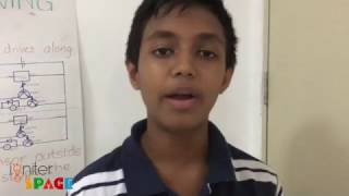 Riveen explains the Line Follower Robot that he has made