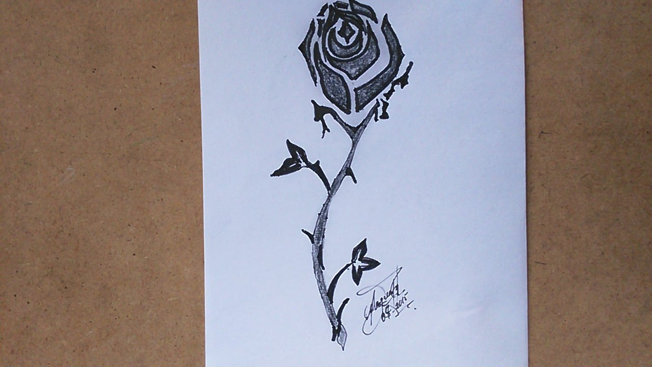 Como Dibujar Un Rosa Para Tatuar, How To Draw A Tribal