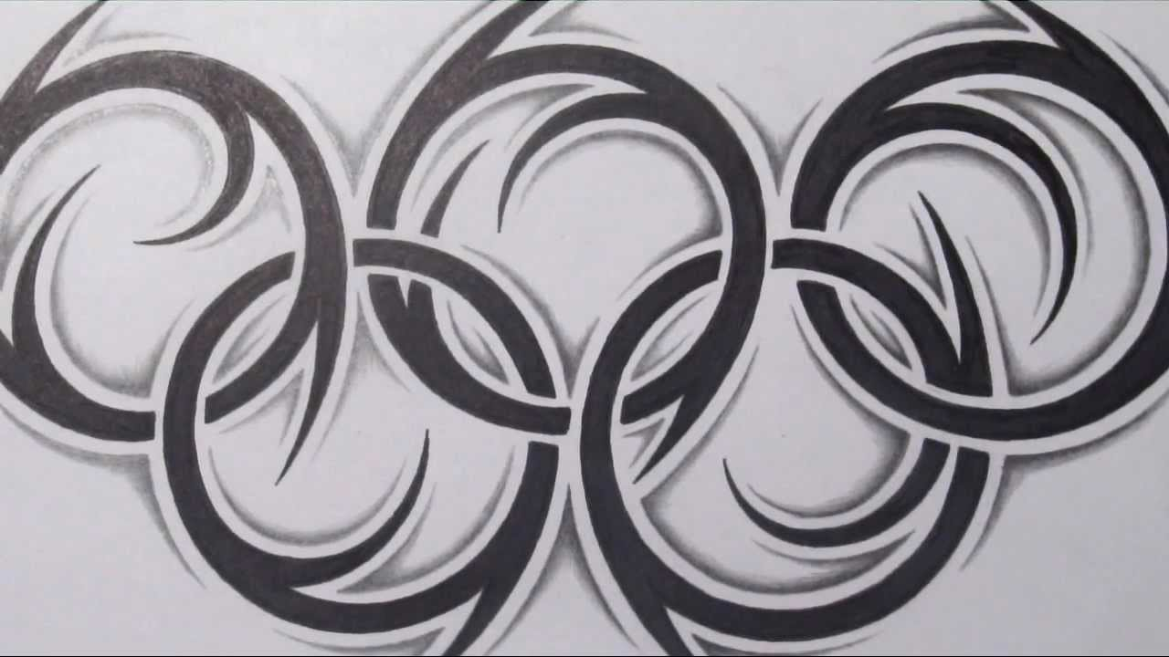 How to draw the olympic rings tribal tattoo design style youtube