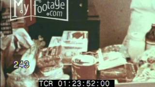 Stock Footage - Cash Register 1950's Market Carts Food Check Out