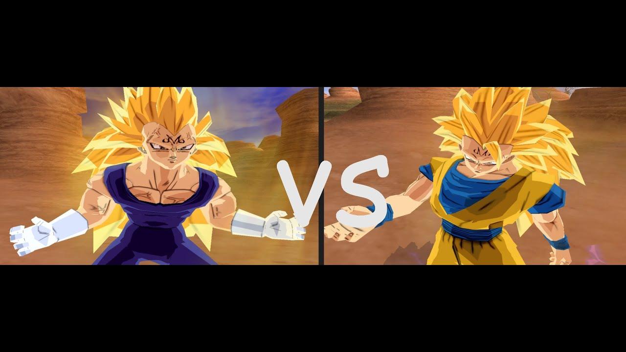 "MOD Majin Goku ssj3 VS Majin Vegeta ssj3! in DBZ BT3 ""PS2 ..."