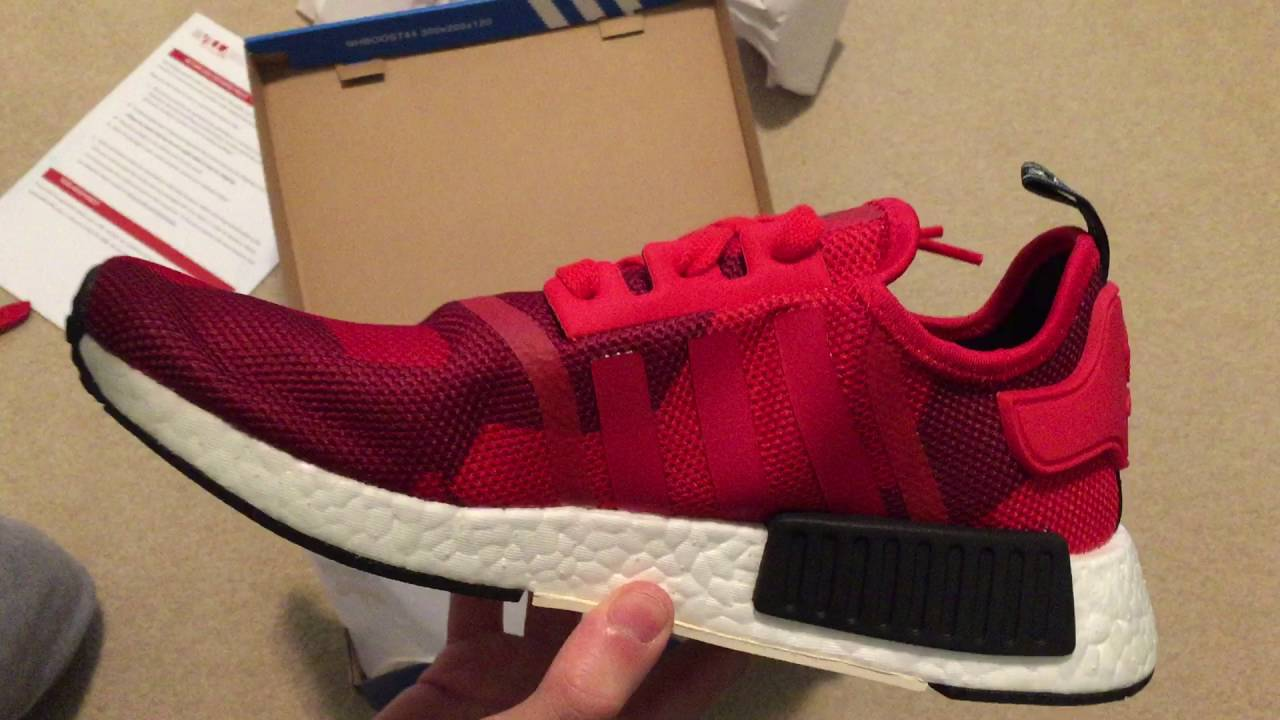 41b8d46db1180 Adidas NMD R1 Geometric Camo Red Sneaker Unboxing - YouTube