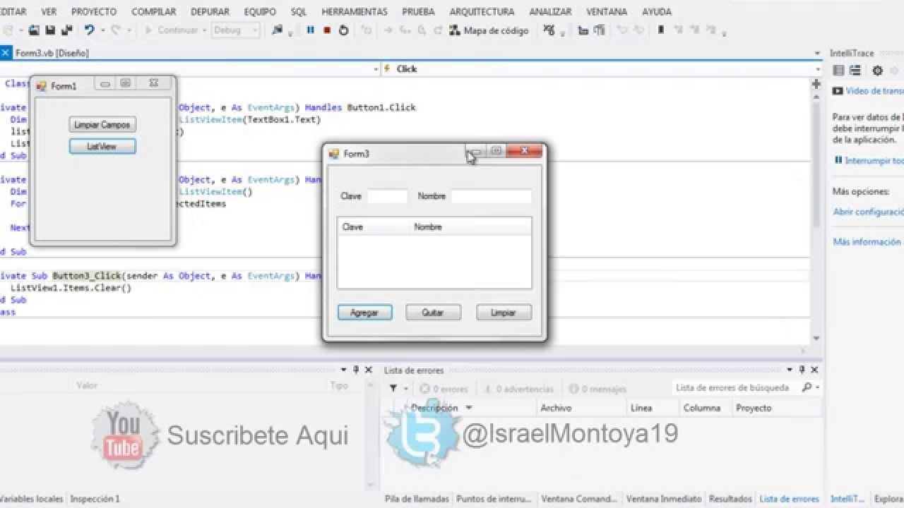 Como usar listView (agregar, borrar, limpiar) en VB net