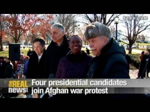 4 presidential candidates join Afghan war protest