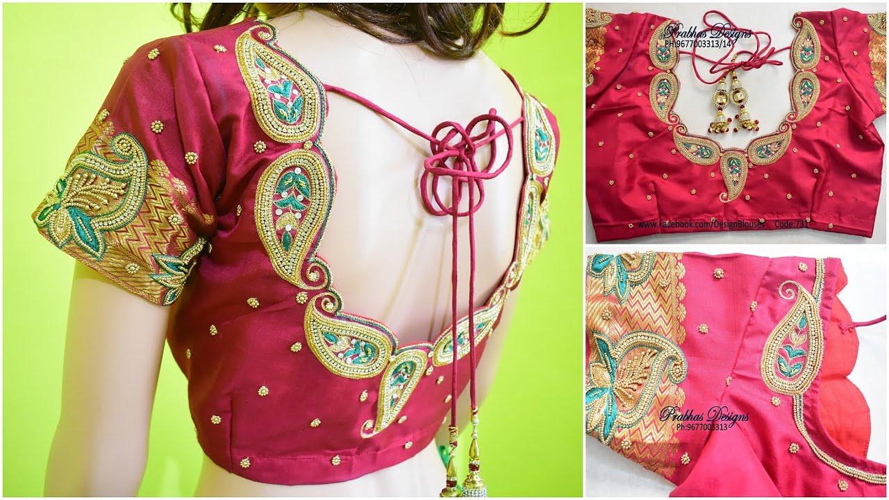 Cute Mango Designed Aari Embroidery Blouse || Online Classes at Prabhas Designs || Code 731
