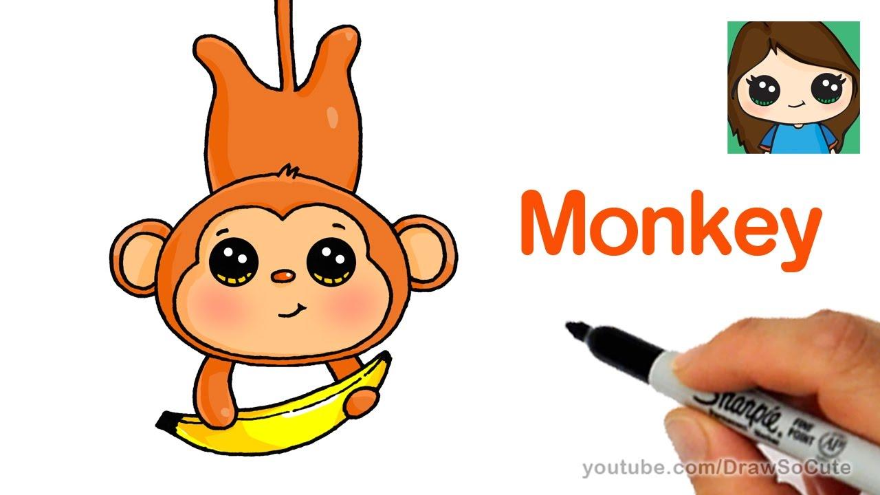 Image of: How To Draw Cartoon Monkey Easy Youtube How To Draw Cartoon Monkey Easy Youtube