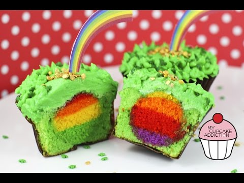 Surprise RAINBOW Cupcakes - St Patties Day Special with a Rainbow on the INSIDE